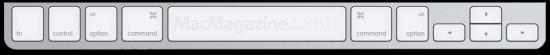 Parte inferior de teclado da Apple