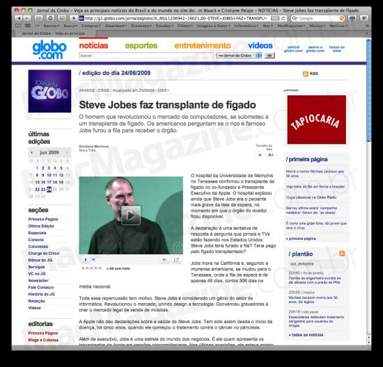 Steve JOBES no Jornal da Globo
