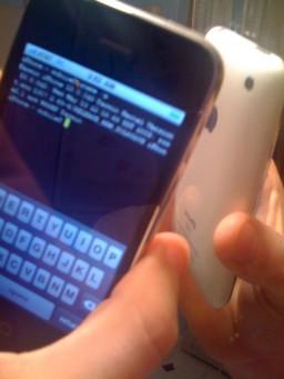 Código rodando no iPhone