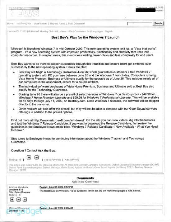 Memorando da Best Buy sobre o Windows 7