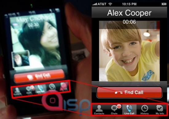 Comparativo entre a suposta chamada de vídeo e interface do Skyper