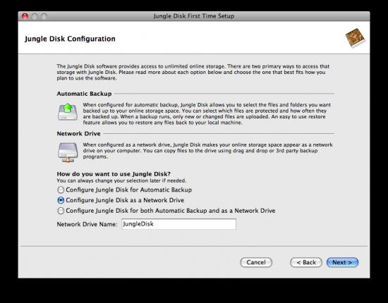 Configuração de disco virtual do Jungle Disk