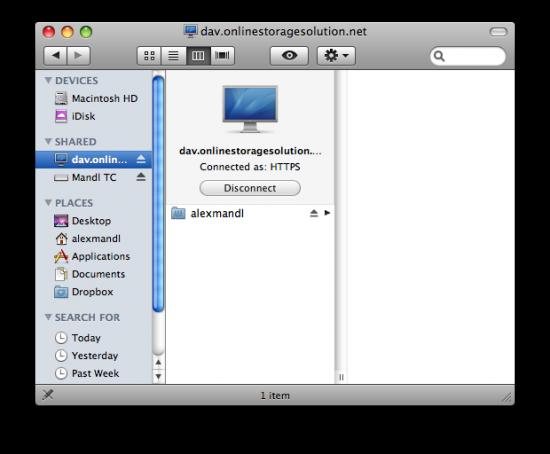 Conexão do OnlineStorage.com no Mac