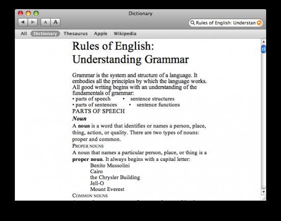 Dictionary - guia gramatical