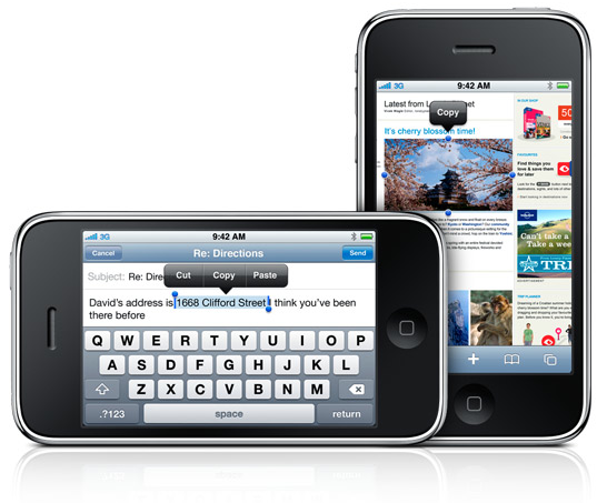 iPhone OS 3.0 - Cut, Copy and Paste