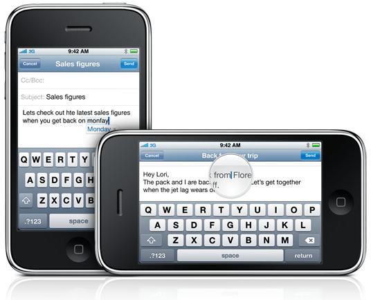 iPhone OS 3.0 - teclado horizontal