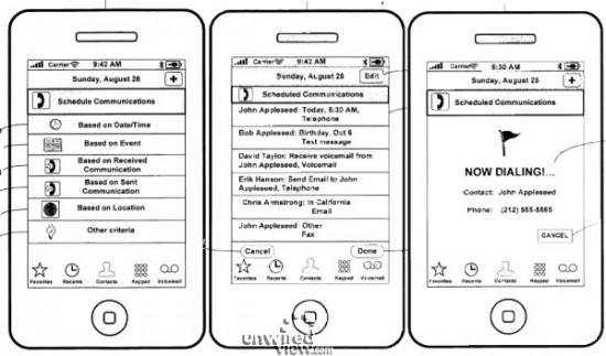 Patente de eventos no iPhone