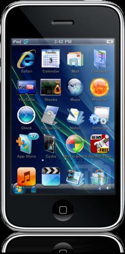 iPhone com tema do Windows Mobile
