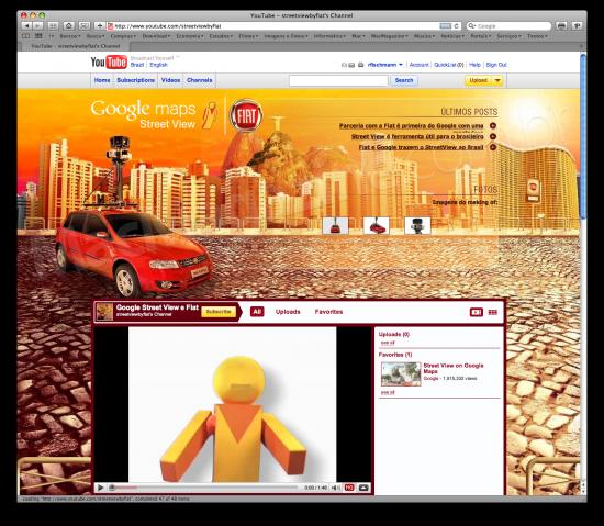 Google Street View e Fiat no YouTube