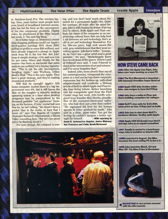 Steve Jobs, Apple e Pixar na TIME em 1999