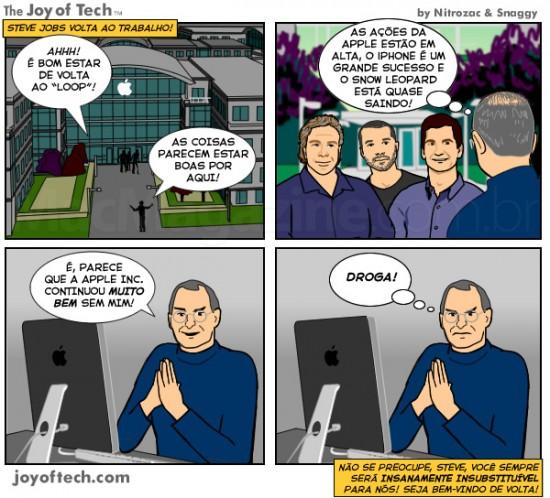 Joy of Tech - o primeiro dia de Steve Jobs de volta ao trabalho