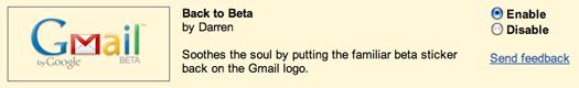 Gmail Back In Beta