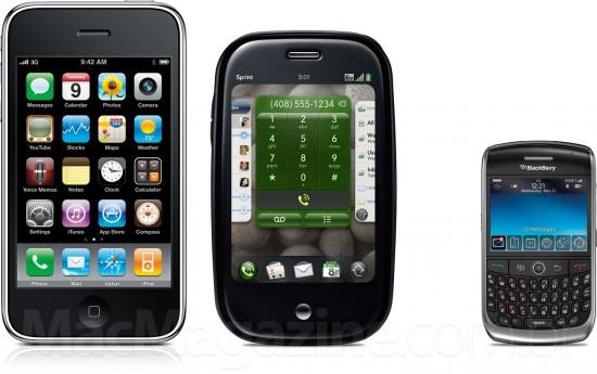 iPhone 3GS, Palm Pre e BlackBerry Curve - smartphones