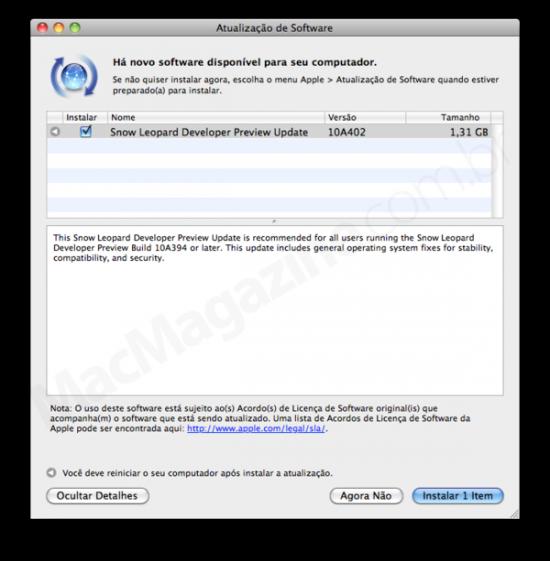 Update do Snow Leopard — 10A402