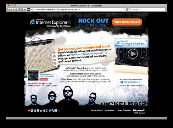Site do IE8 e Nickelback