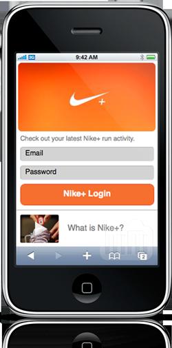 Site do Nike+ no iPhone