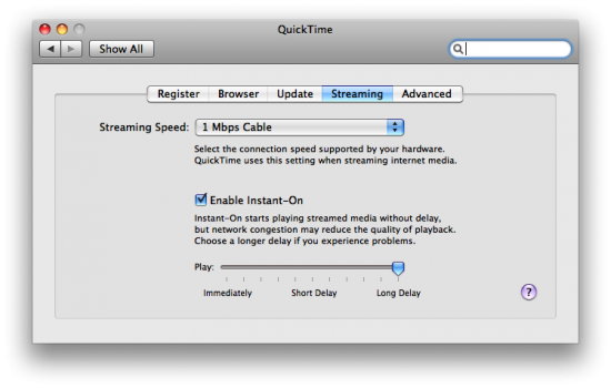 QuickTime — Streaming Preferences