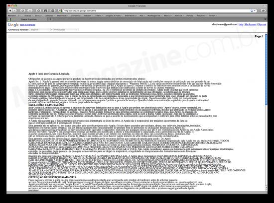 Google traduz documentos