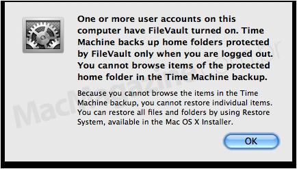 Time Machine e FileVault
