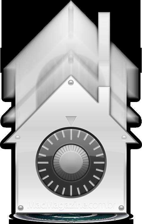 Ícone do FileVault caindo sobre o do Time Machine