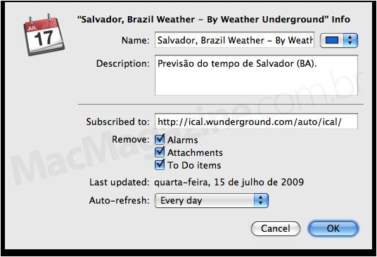 Previsão do tempo no iCal