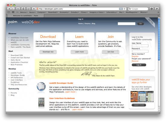Palm Mojo SDK do webOS
