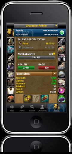 Informações do jogador em WoW Armory