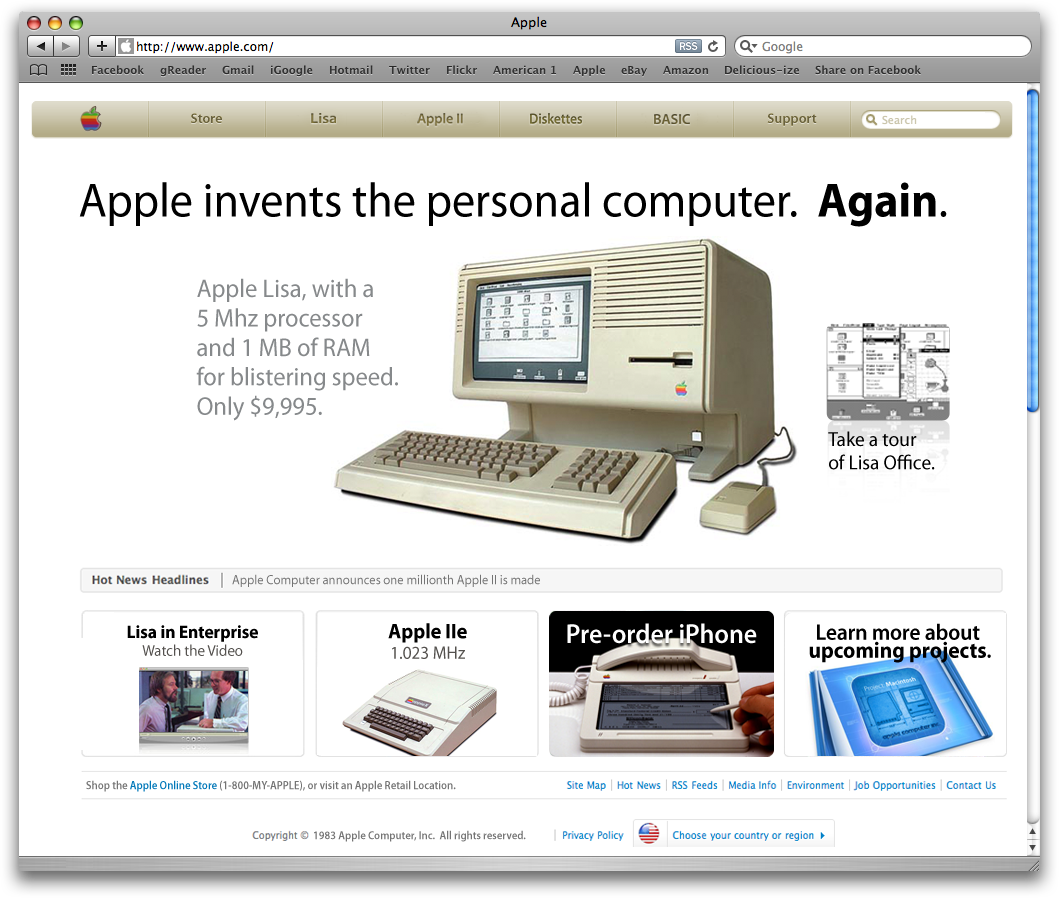 Supuesta Web de Apple en 1983