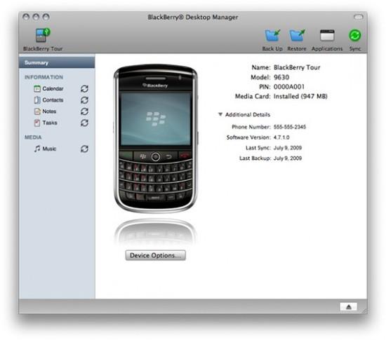 BlackBerry Syncing on Mac