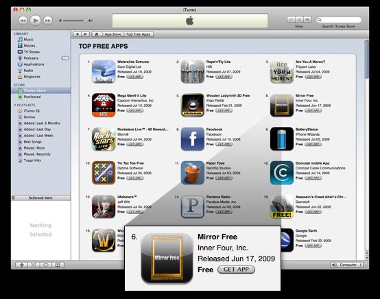 Mirror Free nos Top Free da App Store