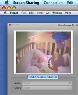 Usando o Mini e a iSight como monitor para bebês