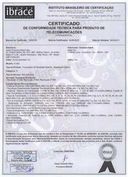 Certificado da ANATEL para o A1302
