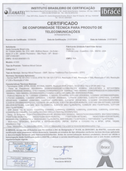Certificado da Anatel do iPhone 3GS 1