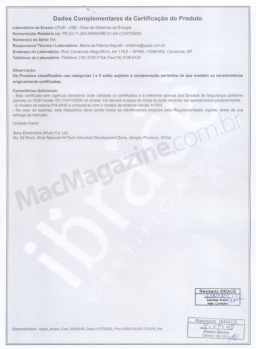 Certificado da Anatel da Bateria do iPhone 3GS 2