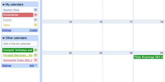Google Calendar - Experimento Aniversáio Contatos