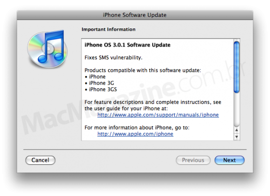31 iphone301 550x400 Firmware 3.0.1 liberado para download