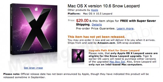 Mac OS X 10.6 Snow Leopard na Amazon.com
