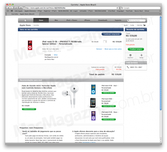 Compra de iPod nano pela Apple Store Online Brasil