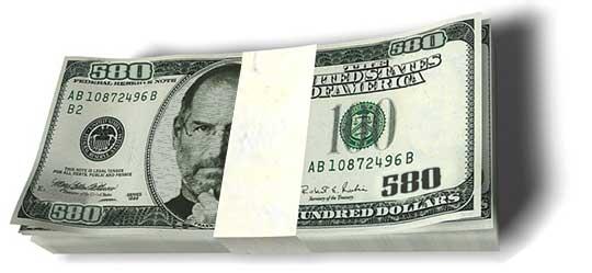 Dinheiro e Steve Jobs