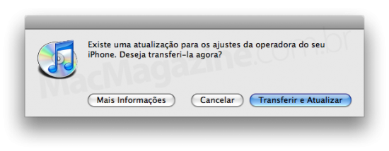 Update de operadora no iTunes