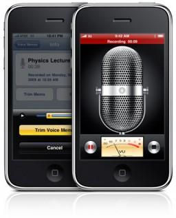 iPhone com aplicativo Voice Memos