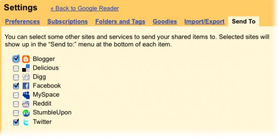 Google Reader - novas configurações