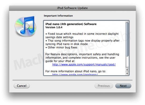 iPod nano 1.0.4 Software Update