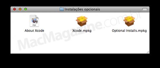 Janela de instaladores opcionais do Mac OS X, incluindo o Xcode, para desenvolvimento.