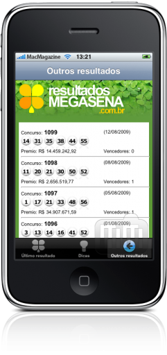 Resultados Megasena no iPhone