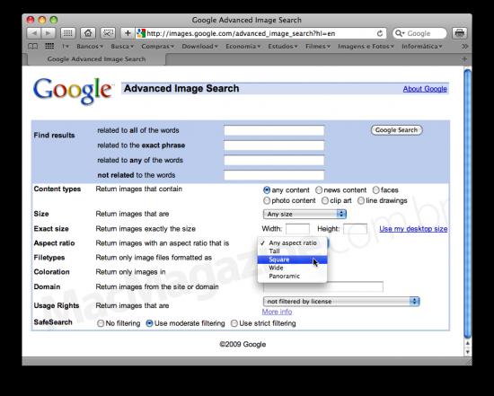 Seletor de proporção na Google Image Search