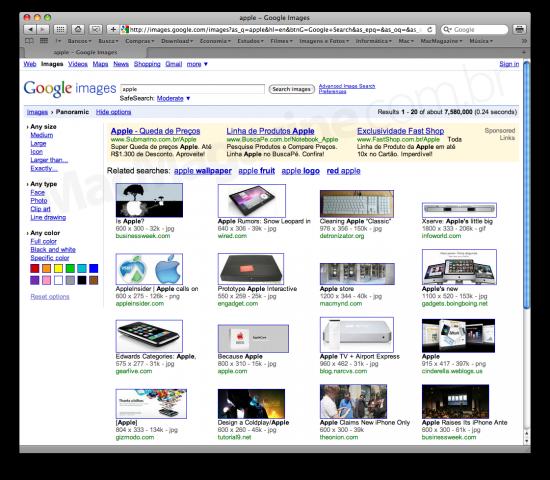 Buscas por apple panorâmicas na Google Image Search