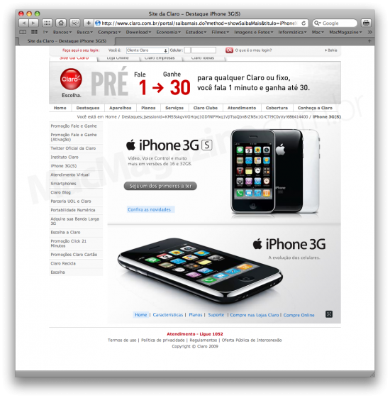 Reservas do iPhone 3GS na Claro