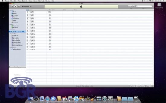 Screenshot do iTunes 9 publicada no BGR