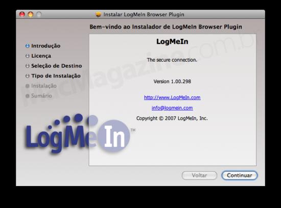 Instalação do plugin do LogMeIn